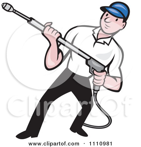 Clipart Retro Pressure Washer Worker Holding A Nozzle - Royalty Free Vector Illustration by patrimonio
