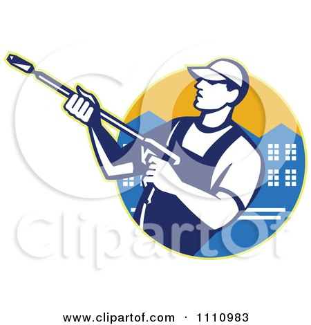 Clipart Retro Pressure Washer Worker Over An Urban Circle - Royalty Free Vector Illustration by patrimonio