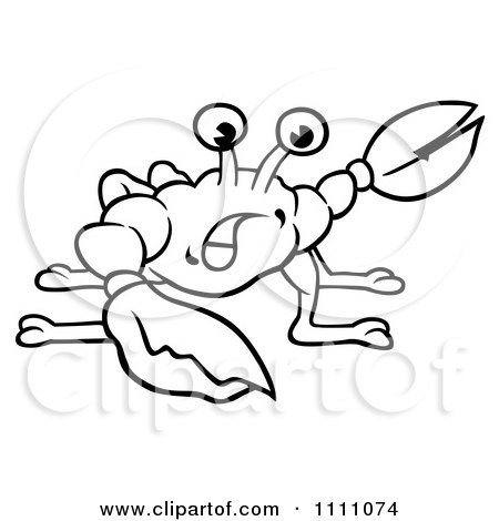Clipart Of A Black And White Crab With A Shadow