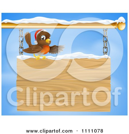 Clipart Christmas Robin Presenting On A Wooden Shingle Sign With Snow - Royalty Free Vector Illustration by AtStockIllustration