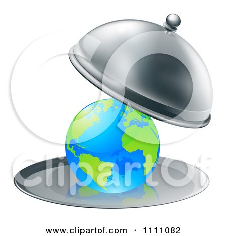 Clipart 3d Globe Searved On A Silver Platter - Royalty Free Vector Illustration by AtStockIllustration