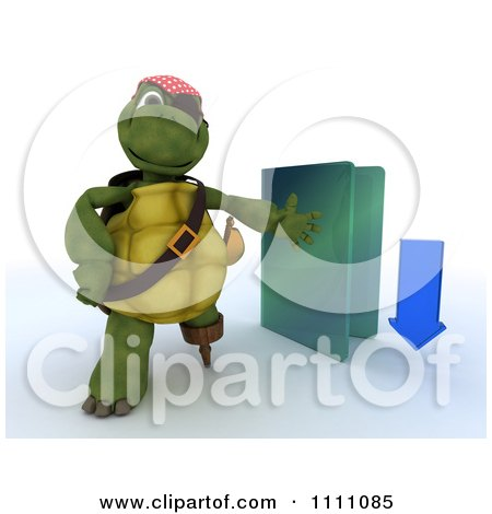 Clipart 3d Illegal Download Hook Hand Tortoise Pirate With A Blue Folder - Royalty Free CGI Illustration by KJ Pargeter
