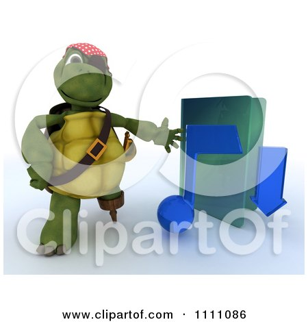 Clipart 3d Illegal Music Download Hook Hand Tortoise Pirate With A Blue Folder - Royalty Free CGI Illustration by KJ Pargeter