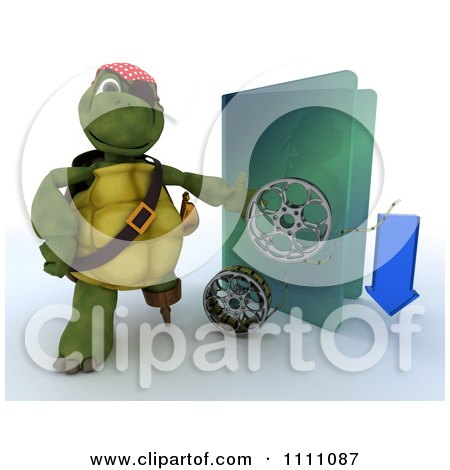 Clipart 3d Illegal Movie Download Pirate Tortoise With A Blue Folder And Film Reels - Royalty Free CGI Illustration by KJ Pargeter