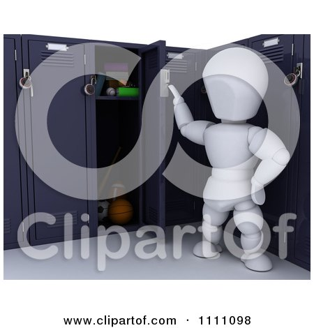 3d White Character Opening His School Locker Posters, Art Prints