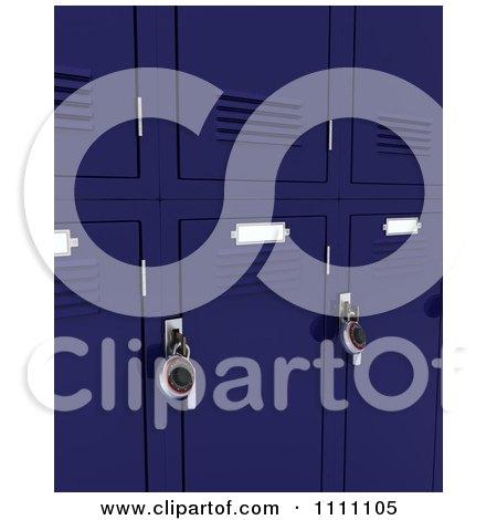 3d Blue School Lockers With Padlocks Posters, Art Prints