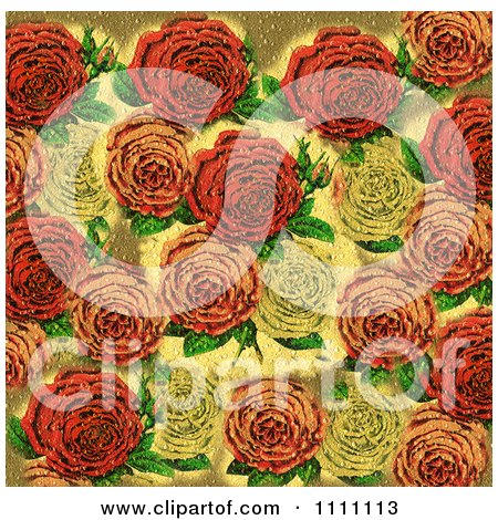 Collage Pattern Of Textured Victorian Roses Posters, Art Prints