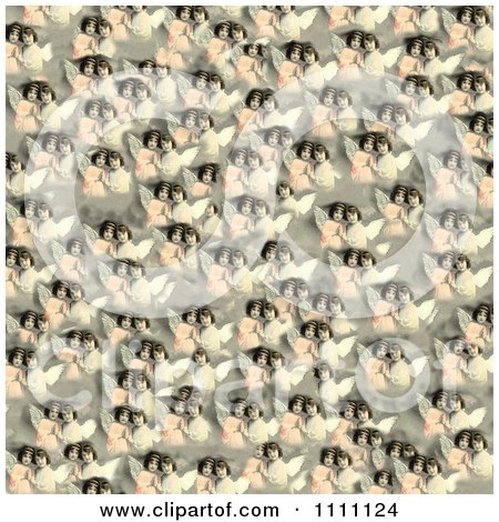 Clipart Collage Pattern Of Victorian Angel Girls - Royalty Free Illustration by Prawny Vintage