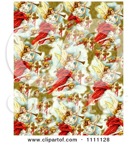 Clipart Collage Pattern Of Victorian Christmas Angels - Royalty Free Illustration by Prawny Vintage