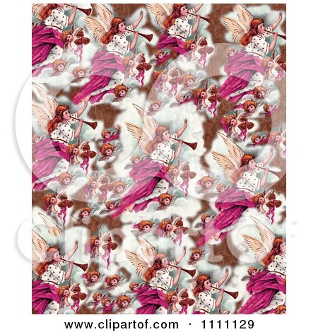Clipart Collage Pattern Of Victorian Christmas Angels In Bronze And Pink Tones - Royalty Free Illustration by Prawny Vintage