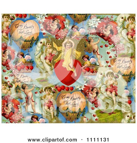 Clipart Collage Pattern Of Victorian Angels And Valentines - Royalty Free Illustration by Prawny Vintage