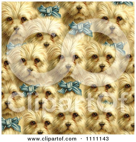 Clipart Collage Pattern Of Victorian Terrier Dogs With Blue Bows - Royalty Free Illustration by Prawny Vintage