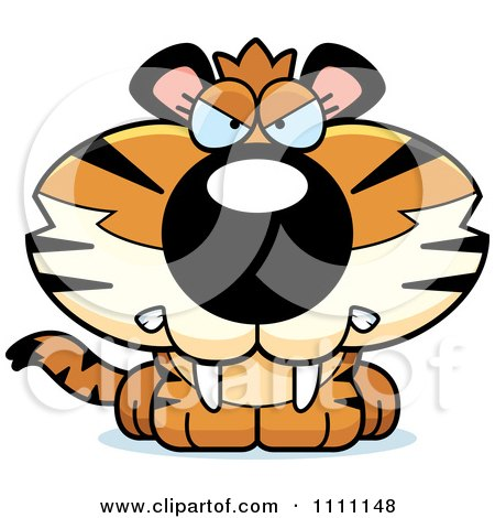 Clipart Cute Angry Tiger Cub - Royalty Free Vector Illustration by Cory Thoman