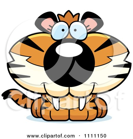 Clipart Cute Happy Tiger Cub - Royalty Free Vector Illustration by Cory Thoman