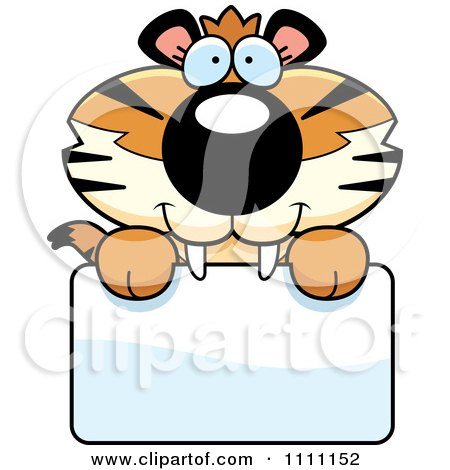 Clipart Cute Happy Tiger Cub Over A Sign - Royalty Free Vector Illustration by Cory Thoman