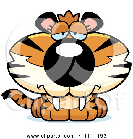 Clipart Cute Depressed Tiger Cub - Royalty Free Vector Illustration by Cory Thoman