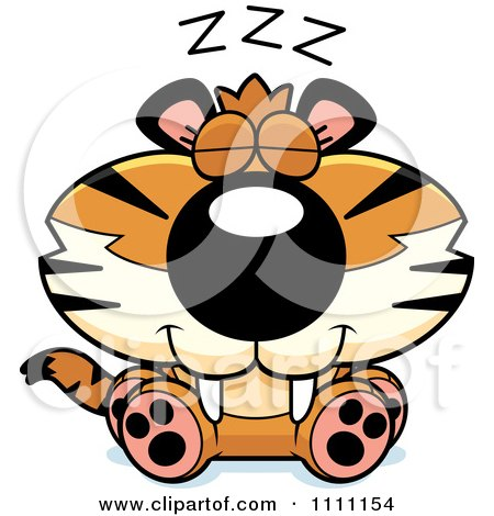 Clipart Cute Sleeping Tiger Cub - Royalty Free Vector Illustration by Cory Thoman