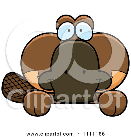 Clipart Cute Happy Platypus Hanging Over A Sign - Royalty Free Vector Illustration by Cory Thoman