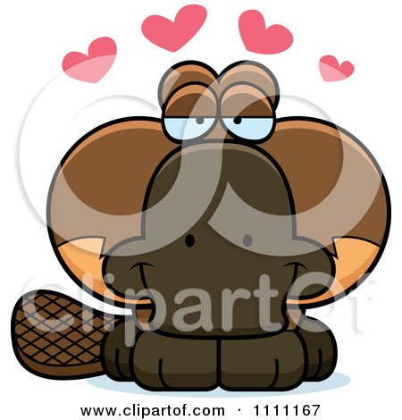 Clipart Cute Amorous Platypus - Royalty Free Vector Illustration by Cory Thoman