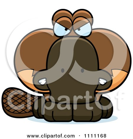 Clipart Cute Angry Platypus - Royalty Free Vector Illustration by Cory Thoman