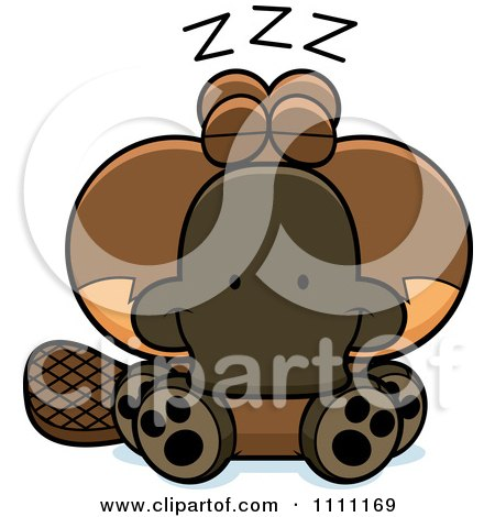 Clipart Cute Sleeping Platypus - Royalty Free Vector Illustration by Cory Thoman