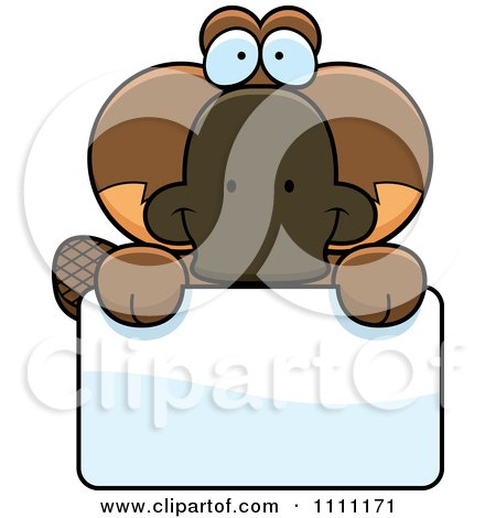 Clipart Cute Happy Platypus Over A Sign - Royalty Free Vector Illustration by Cory Thoman