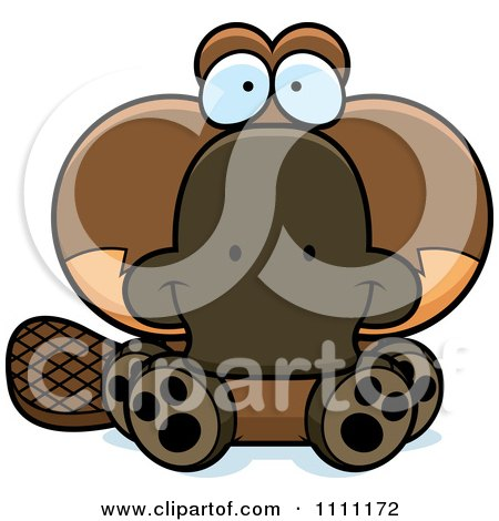 Clipart Cute Sitting Platypus - Royalty Free Vector Illustration by Cory Thoman