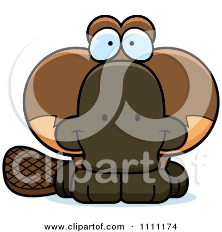 Clipart Cute Happy Platypus - Royalty Free Vector Illustration by Cory Thoman