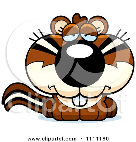 Clipart Cute Depressed Chipmunk - Royalty Free Vector Illustration by Cory Thoman
