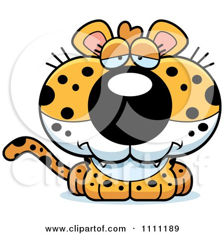 Clipart Cute Depressed Leopard Cub - Royalty Free Vector Illustration by Cory Thoman