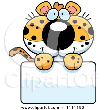 Clipart Cute Leopard Cub Over A Sign - Royalty Free Vector Illustration by Cory Thoman
