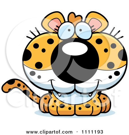Clipart Cute Happy Leopard Cub - Royalty Free Vector Illustration by Cory Thoman