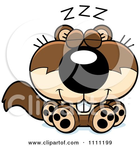 Clipart Cute Sleeping Baby Squirrel - Royalty Free Vector Illustration by Cory Thoman