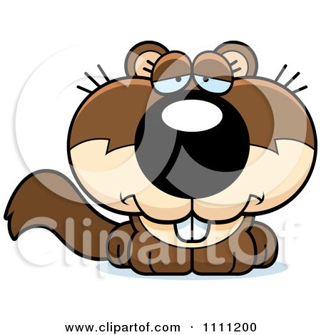 Clipart Cute Depressed Baby Squirrel - Royalty Free Vector Illustration by Cory Thoman