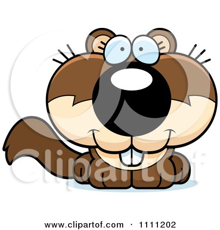 Clipart Cute Happy Baby Squirrel - Royalty Free Vector Illustration by Cory Thoman