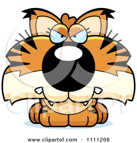 Clipart Cute Angry Bobcat Cub - Royalty Free Vector Illustration by Cory Thoman