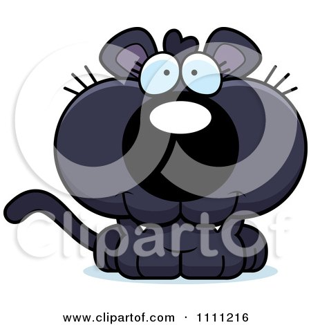 Clipart Cute Happy Panther Cub - Royalty Free Vector Illustration by Cory Thoman