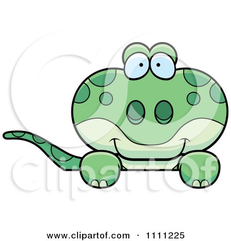 Clipart Cute Gecko Lizard Peeking Over A Sign - Royalty Free Vector Illustration by Cory Thoman