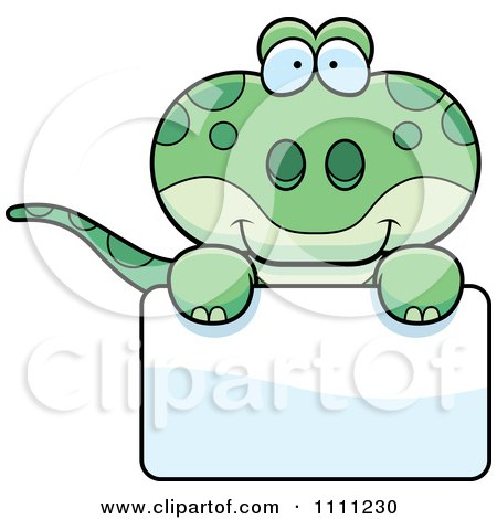 Clipart Cute Gecko Lizard Over A Sign - Royalty Free Vector Illustration by Cory Thoman