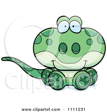 Clipart Cute Sitting Gecko Lizard - Royalty Free Vector Illustration by Cory Thoman