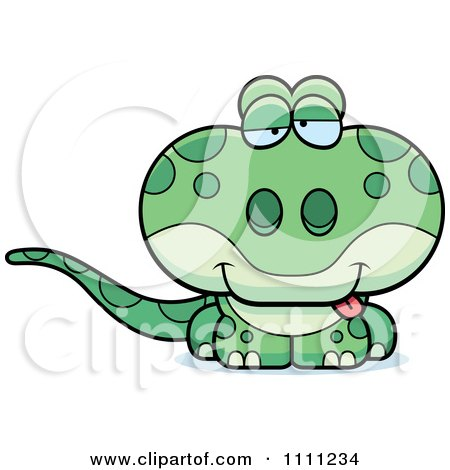 Clipart Cute Drunk Gecko Lizard - Royalty Free Vector Illustration by Cory Thoman