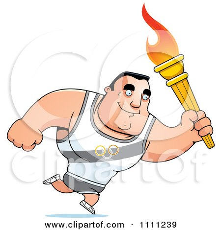 Clipart Buff Olympic Athlete Man Running With A Torch - Royalty Free Vector Illustration by Cory Thoman
