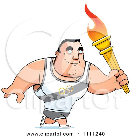 Clipart Buff Olympic Athlete Man Walking With A Torch - Royalty Free Vector Illustration by Cory Thoman