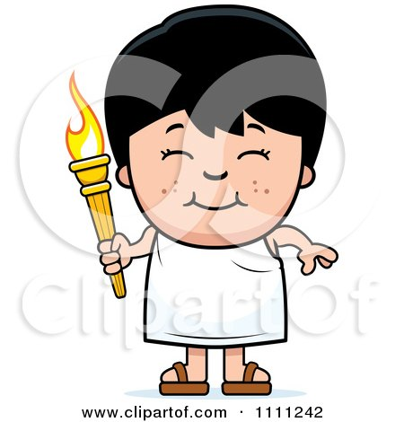 Clipart Happy Boy Holding An Olympic Torch - Royalty Free Vector Illustration by Cory Thoman