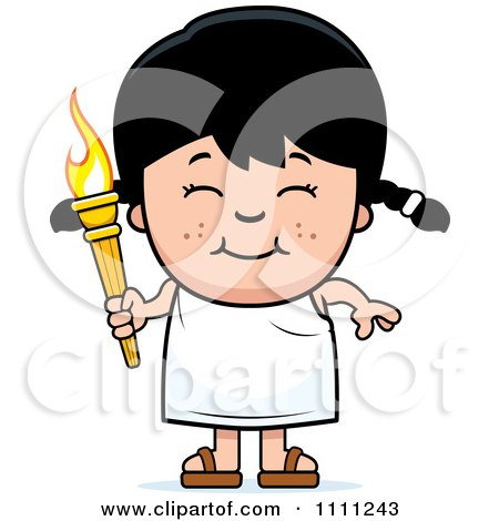 Clipart Happy Girl Holding An Olympic Torch - Royalty Free Vector Illustration by Cory Thoman