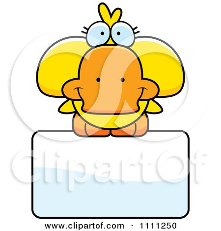 Clipart Cute Duck On A Sign - Royalty Free Vector Illustration by Cory Thoman
