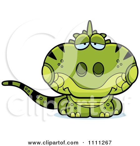Clipart Cute Depressed Iguana Lizard - Royalty Free Vector Illustration by Cory Thoman