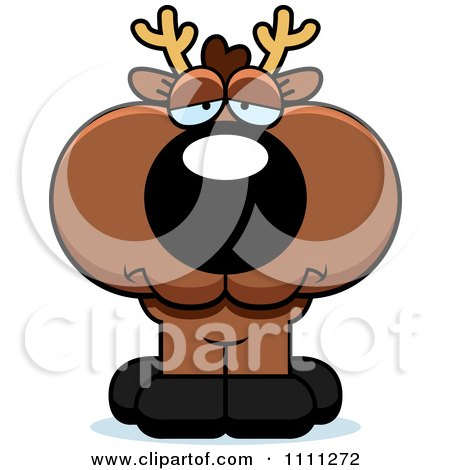 Clipart Cute Depressed Deer Fawn - Royalty Free Vector Illustration by Cory Thoman