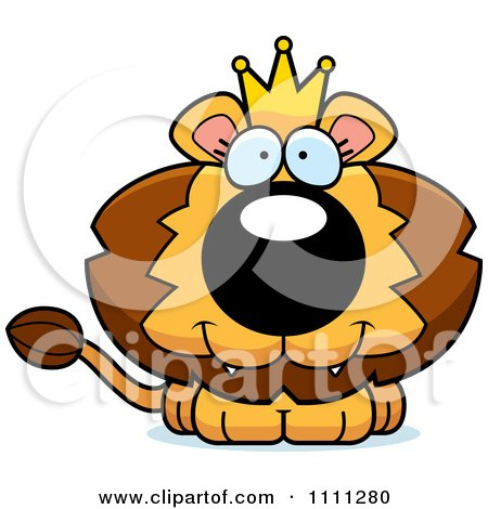 Clipart Cute Happy King Lion Cub - Royalty Free Vector Illustration by Cory Thoman