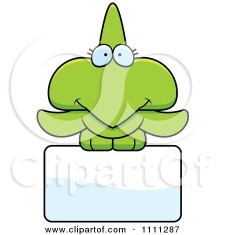Clipart Cute Pterodactyl Dinosaur Over A Sign - Royalty Free Vector Illustration by Cory Thoman
